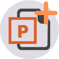 Microsoft PowerPoint logo with plus symbol