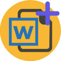 Microsoft word logo with plus symbol